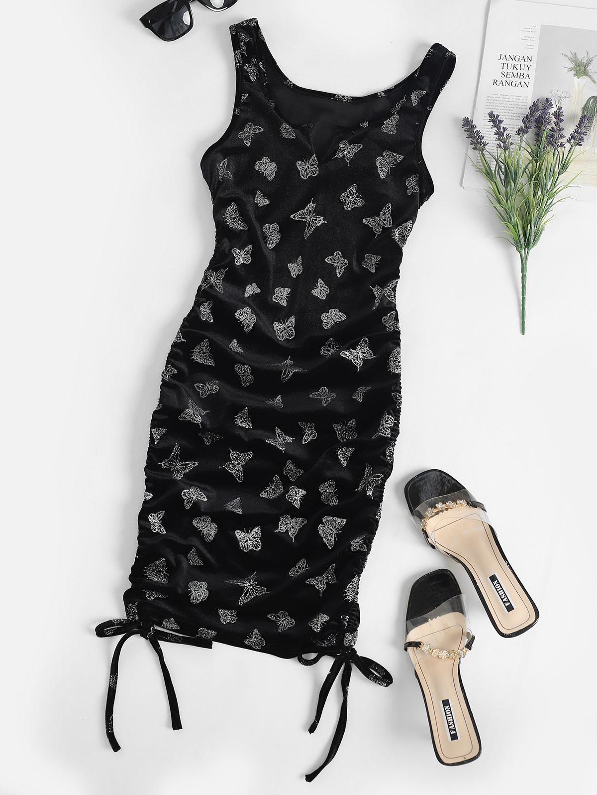 Cinched Sparkle Butterfly Velvet Bodycon Dress
