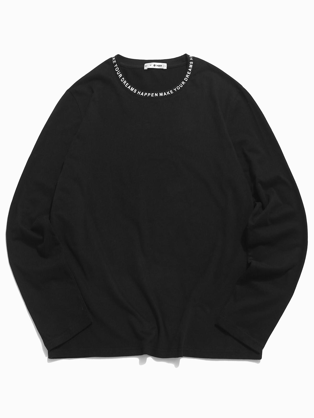 ZAFUL Letter Print Long Sleeve Slogan T-shirt  - buy with discount