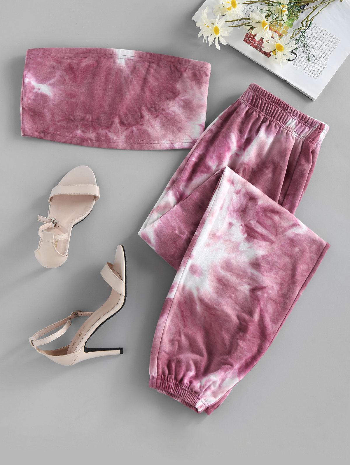 ZAFUL Tie Dye Strapless Jogger Pants Set