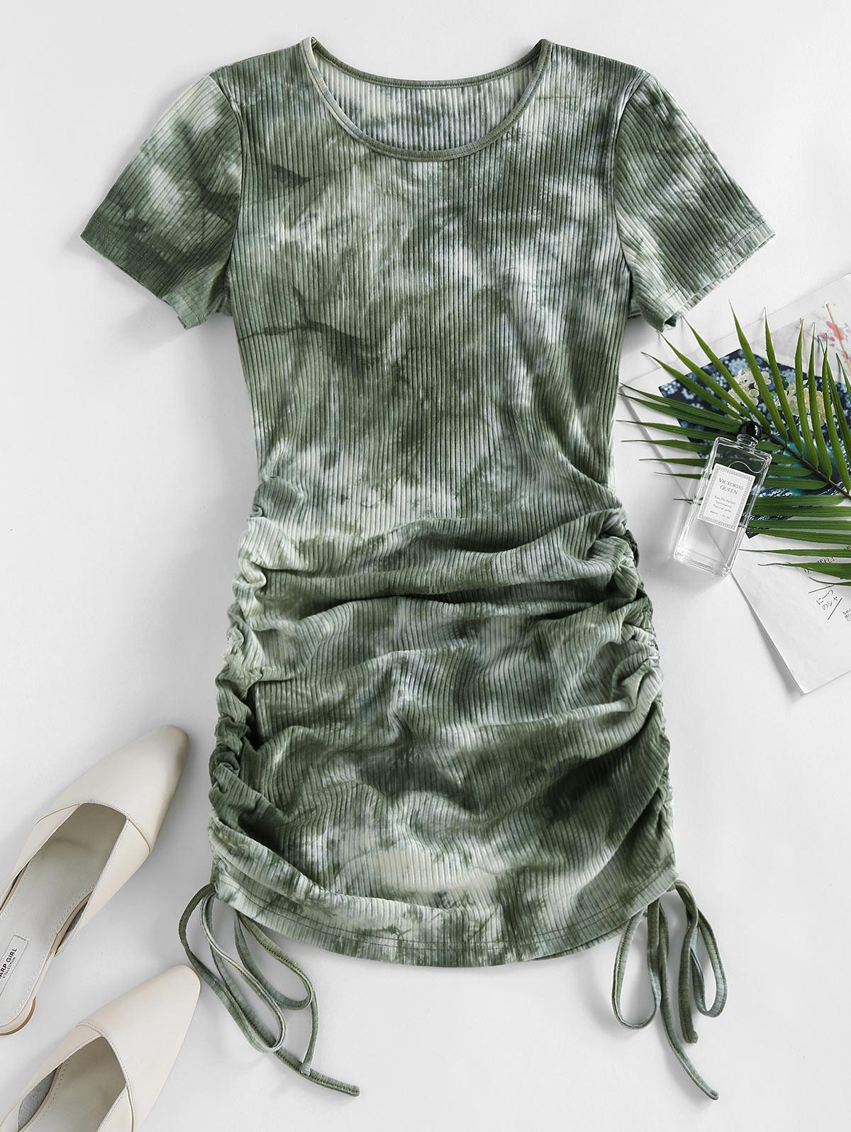 ZAFUL Cinched Tie Dye Ribbed Bodycon Dress