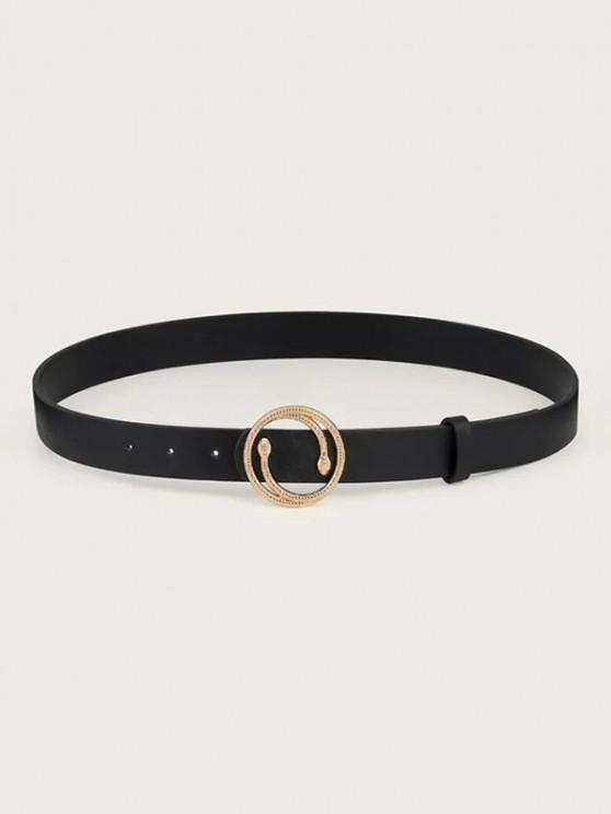 chic Snake Shape Round Buckle Belt - BLACK