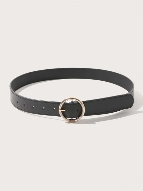fancy Rhinestone Inlaid Round Buckle Belt - BLACK