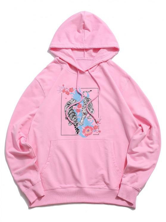 women Floral Tiger Graphic Drawstring Pouch Pocket Hoodie - LIGHT PINK 2XL