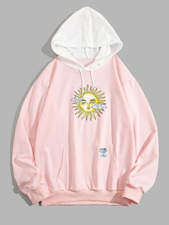 ZAFUL Celestial Sun Print Colorblock Hoodie - وردي فاتح 2XL