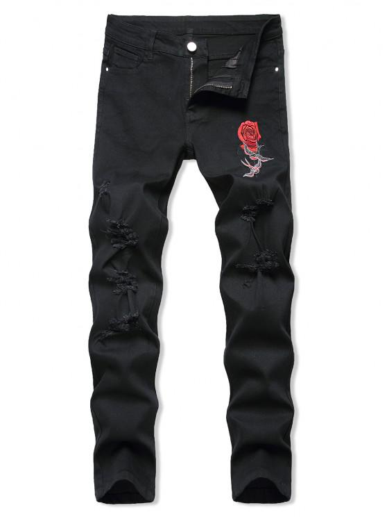 Birds Rose Flower Embroidered Ripped Tapered Jeans - أسود 38