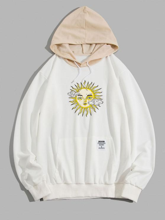 best ZAFUL Celestial Sun Print Colorblock Hoodie - WHITE XL