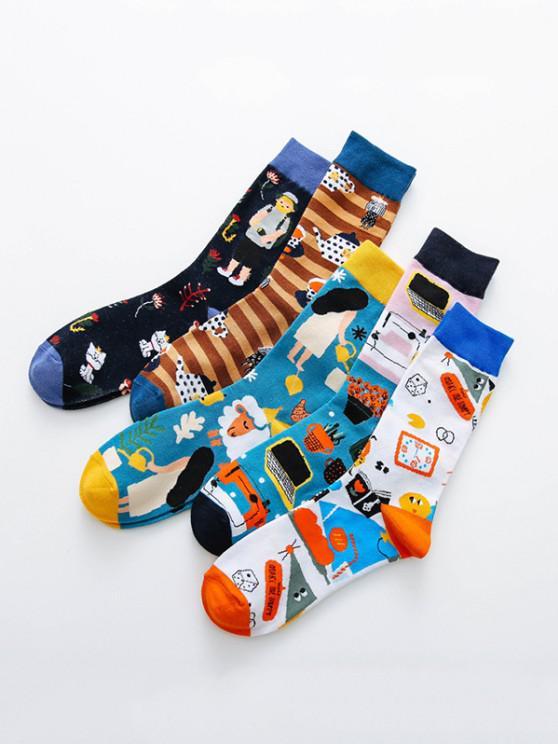 shop 5 Pairs Colorful Print Crew Socks Set - MULTI-A