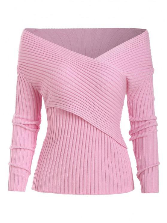 Pull Côtelé Croisé en Avant à Jambe Large - Rose Léger  Taille Unique