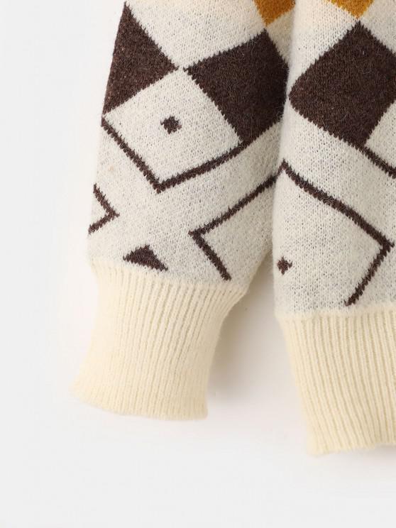 Argyle Drop Shoulder Mock Neck Sweater - White | ZAFUL