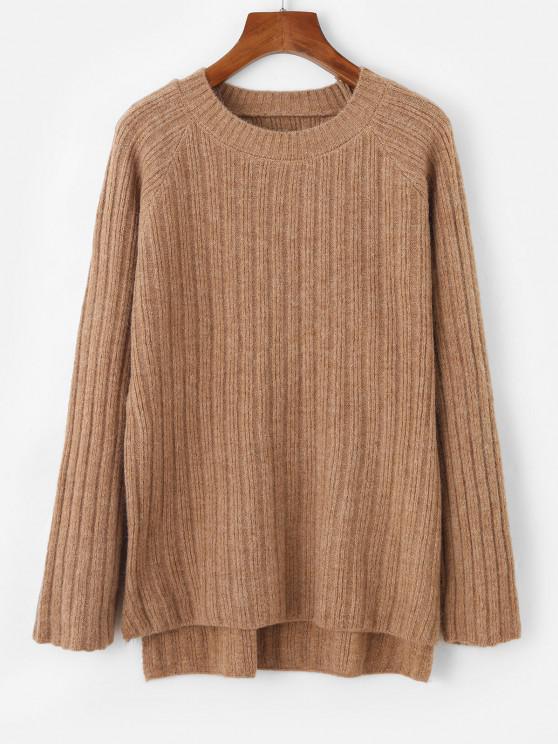 Raglan Sleeve Slit High Low Sweater - القهوة الخفيفة حجم واحد