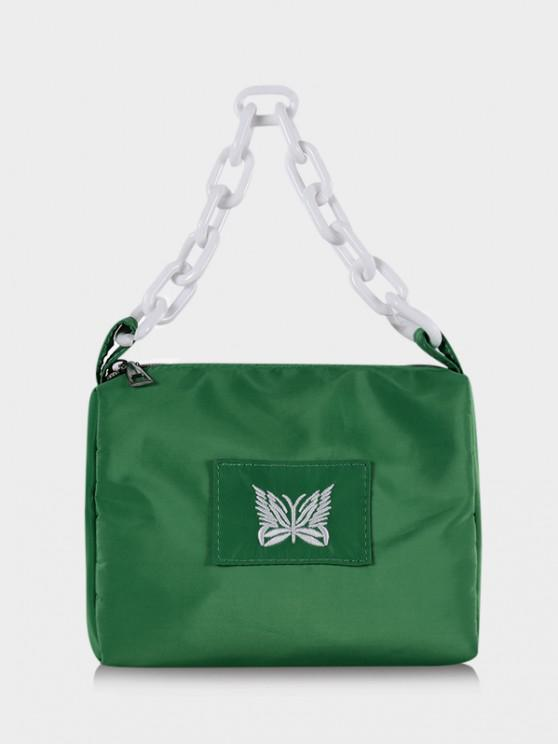 best Butterfly Embroidery Square Chain Handbag - DEEP GREEN