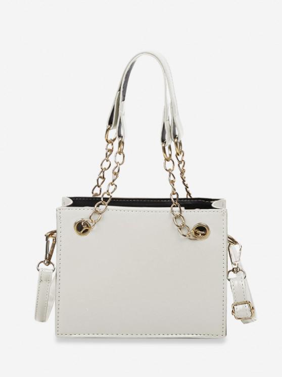 Bolsa de mão com couro estampado Sólido - Branco