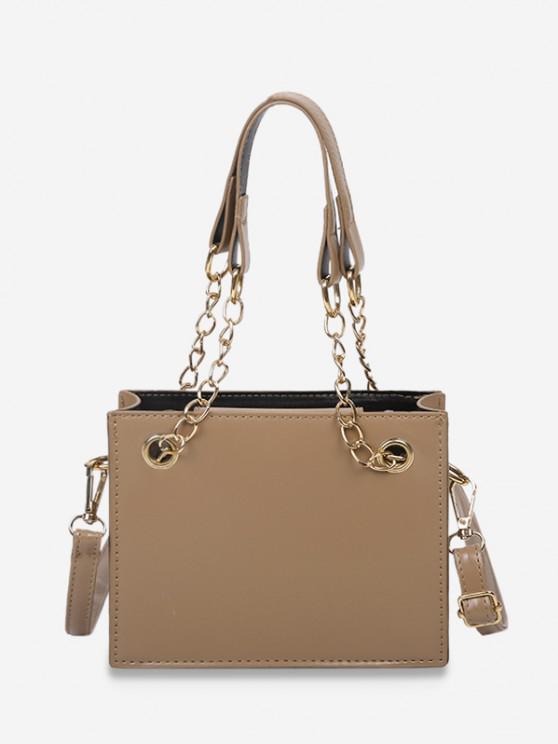 Bolsa de mão com couro estampado Sólido - Café Light