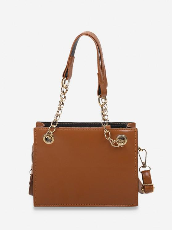 outfits Brief Solid Square Handbag - COFFEE