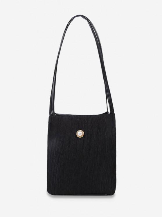 latest Faux Pearl Textured Shoulder Bag - BLACK