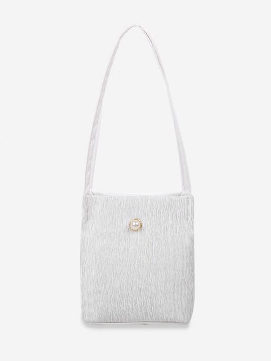 fashion Faux Pearl Textured Shoulder Bag - WHITE