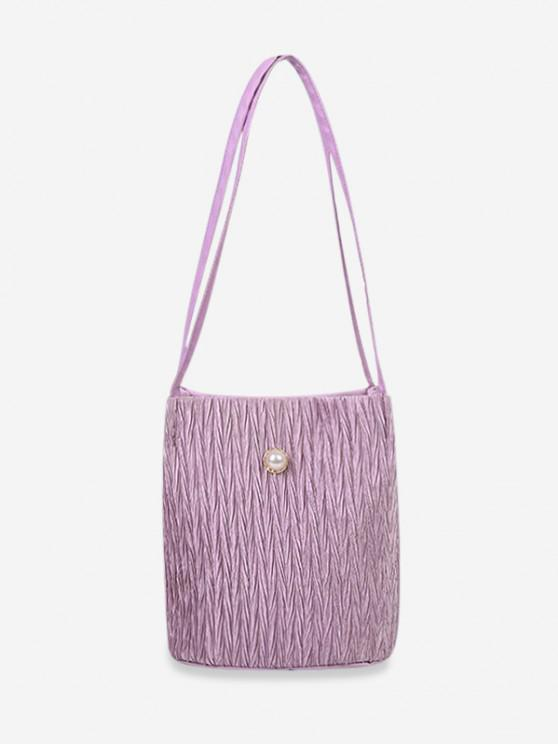 fancy Faux Pearl Textured Shoulder Bag - LIGHT PURPLE