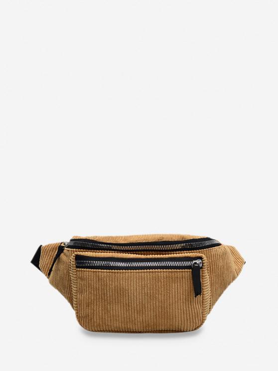 new Brief Zipper Solid Waist Bag - COFFEE