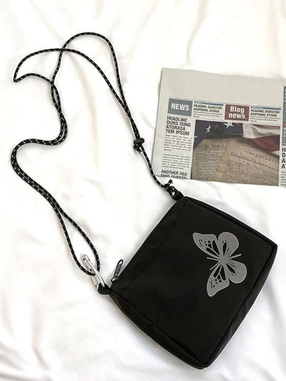 outfit Reflective Butterfly Pattern Canvas Bag - BLACK
