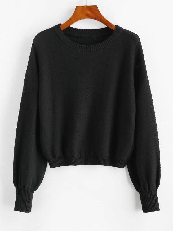 Drop Shoulder Crop Sweater - أسود S