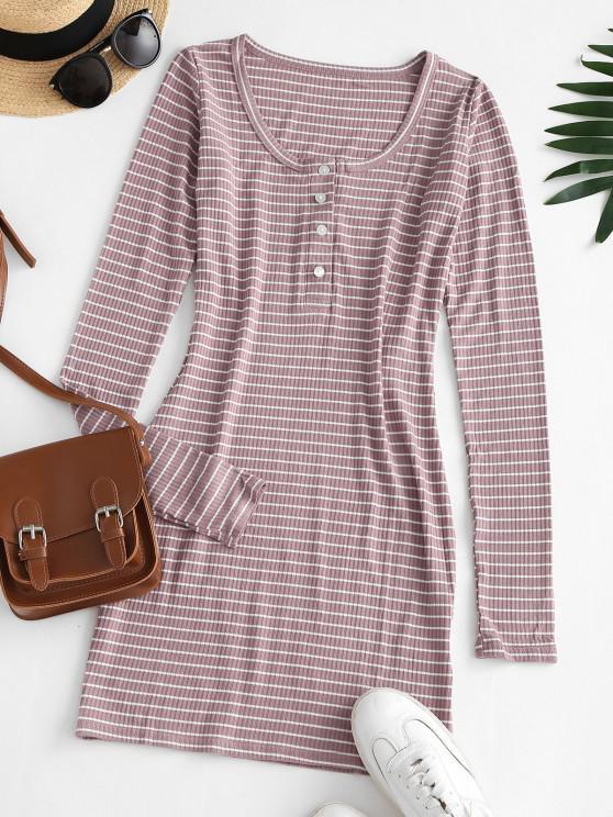 Striped Rib-knit Bodycon Dress - أحمر الشفاه الوردي M