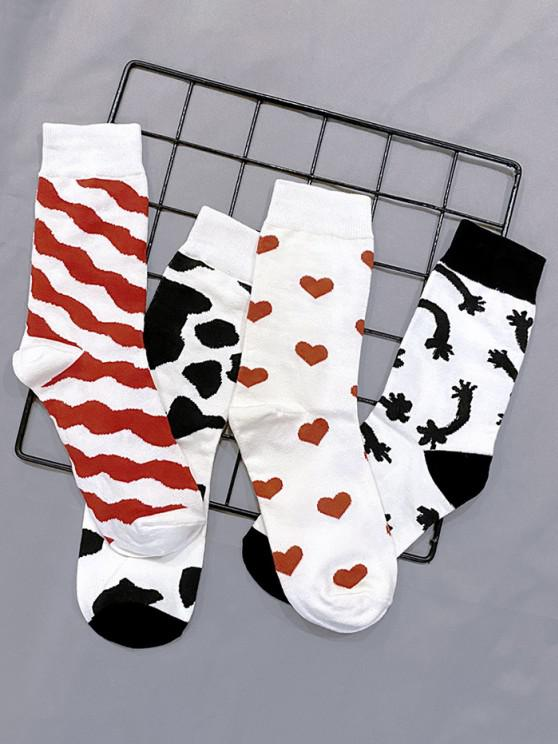 affordable 4 Pairs Cow Heart Pattern Socks Set - MULTI-A