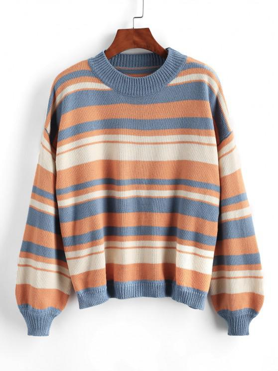 chic Crew Neck Mixed Stripes Lantern Sleeve Sweater - BLUE ONE SIZE