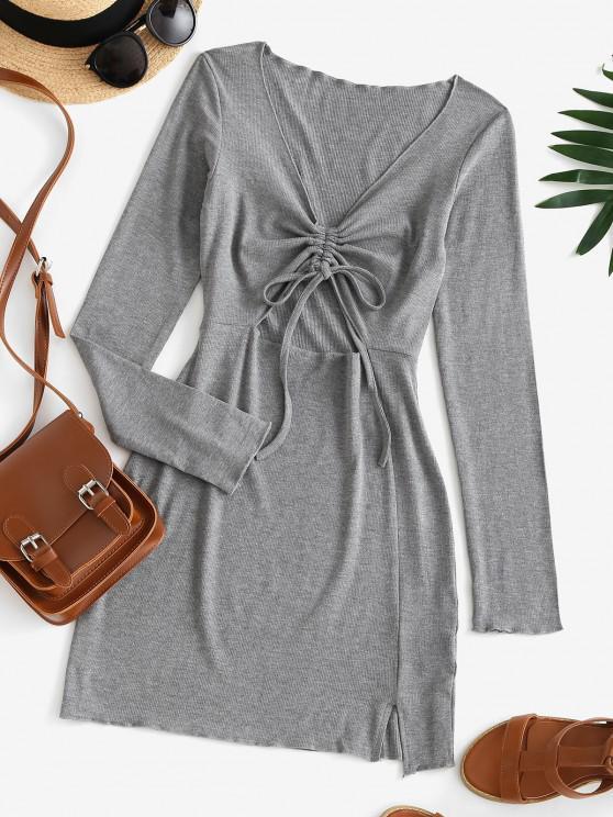 lady Cinched Cutout Bodycon Knit Long Sleeve Dress - BATTLESHIP GRAY M