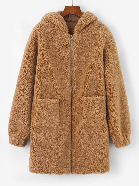 shop Hooded Drop Shoulder Pocket Teddy Coat - LIGHT COFFEE M