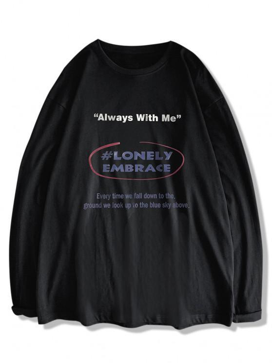 fancy Text Print Long Sleeve T-shirt - BLACK S