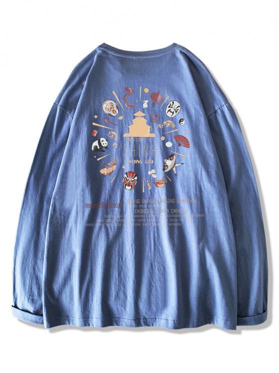 Maglietta con Stampa a Stile Cinese con Maniche Lunghe - Blu Koi XL