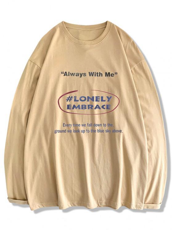 chic Text Print Long Sleeve T-shirt - LIGHT KHAKI S