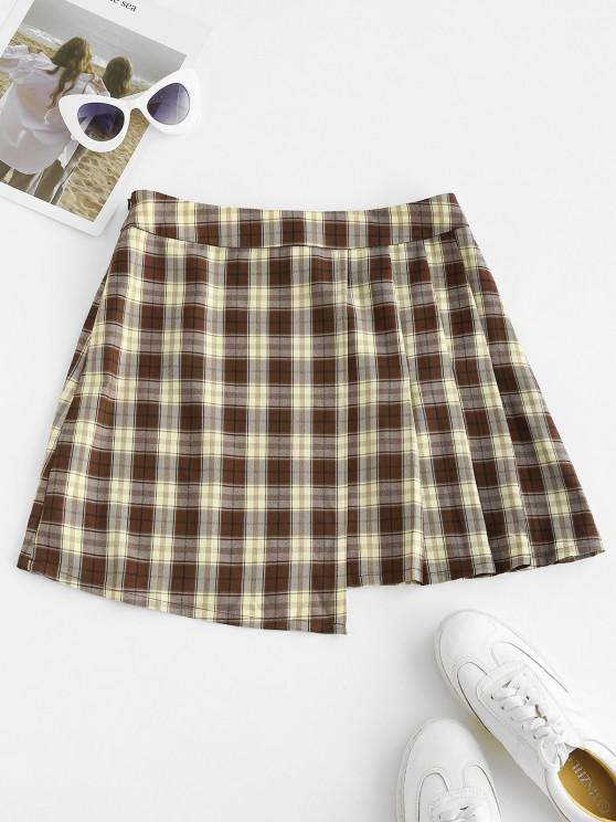 fashion ZAFUL Overlap Plaid Mini Skirt - SEPIA M