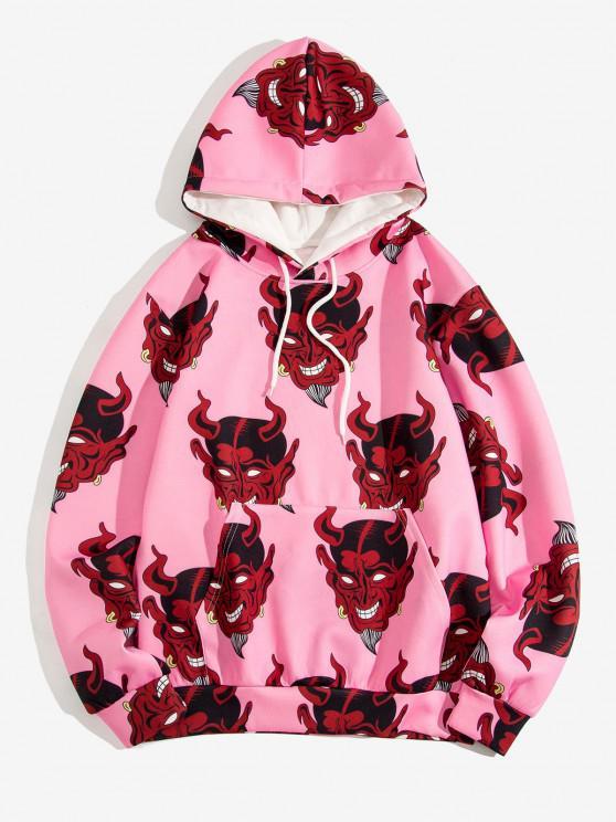 Devil Pattern Front Pocket Hoodie - خنزير وردي XL