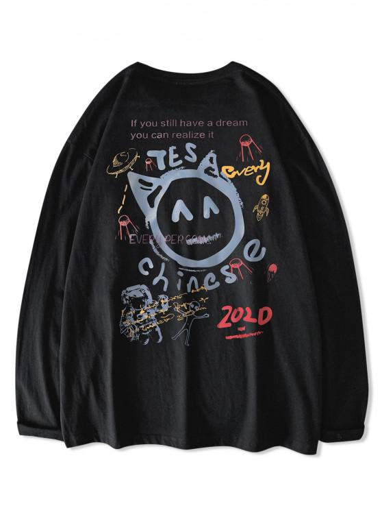 Chinese Letter Astronaut ET Graphic Print Long Sleeve T-shirt - أسود M
