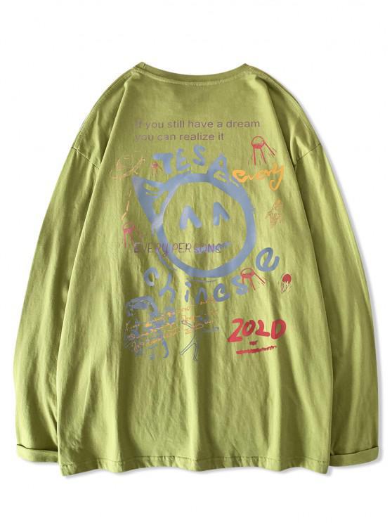 Chinesisches Buchstabedruckes T-Shirt mit Grafikdruck und Langen Ärmeln - Hellgrün XL