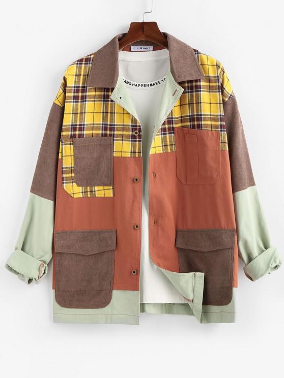 fashion ZAFUL Plaid Pocket Patchwork Colorblock Panel Shirt Jacket - MULTI M