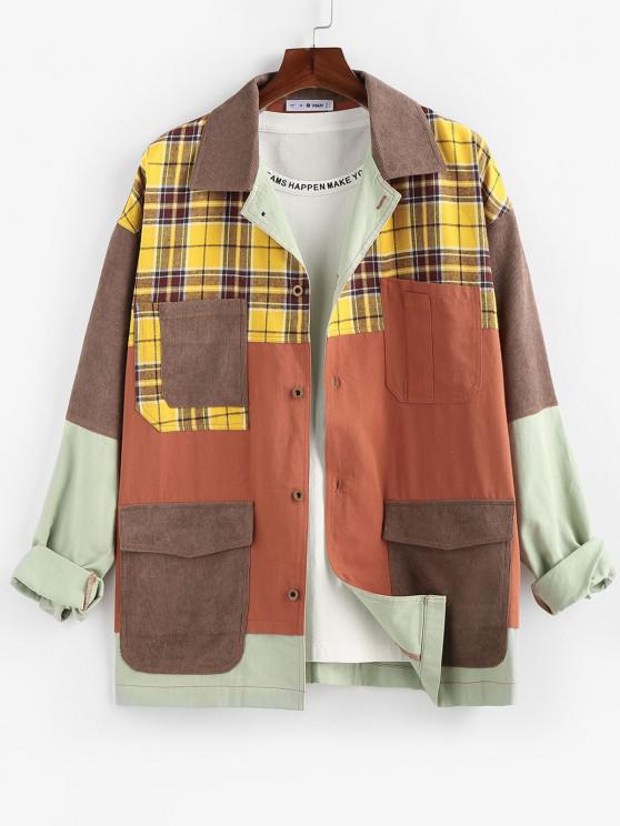 ZAFUL Plaid Pocket Patchwork Colorblock Panel Shirt Jacket - متعدد L
