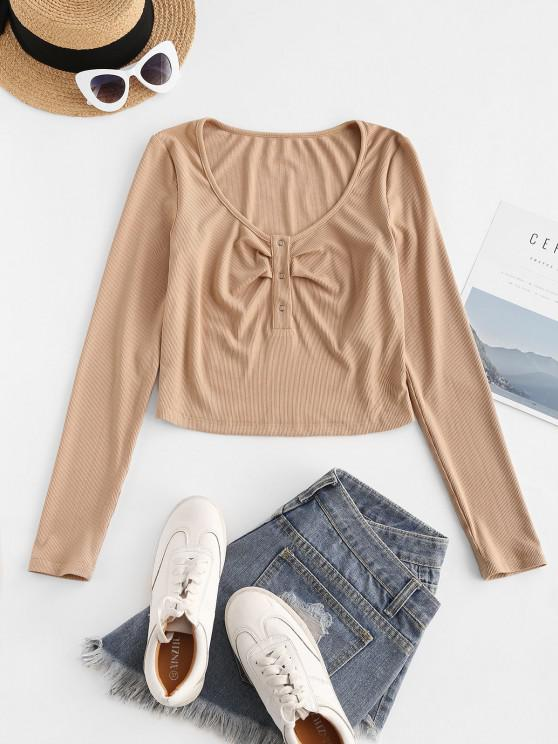 outfit ZAFUL Half Button Ribbed Crop Tee - APRICOT M