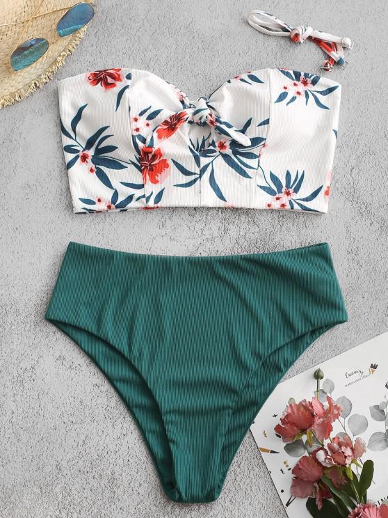 ZAFUL Ribbed Flower Tied Keyhole Mix and Match Tankini Swimwear - ديب غرين L