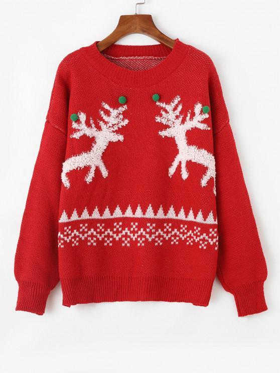 Suéter Texturizado com Pompons Coloridos de Natal - Vermelho Um Tamanho
