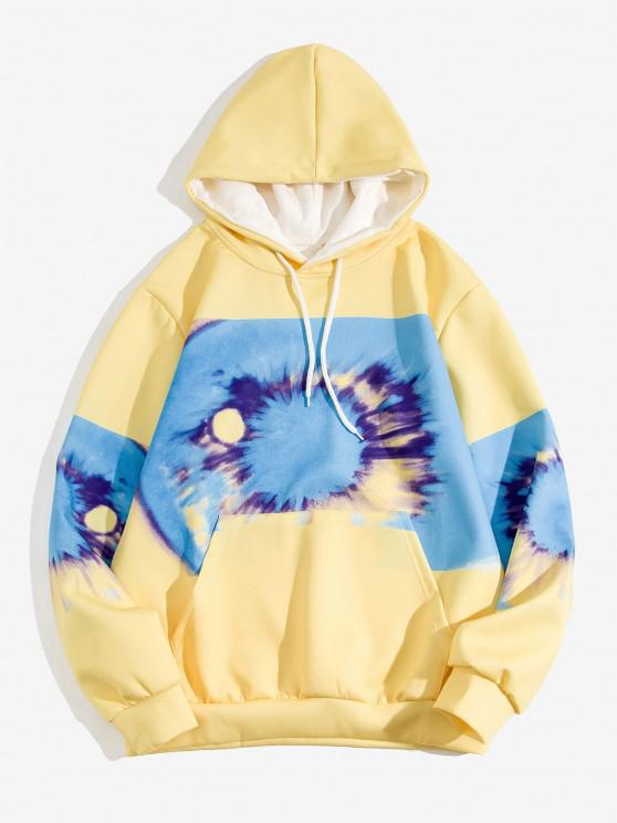 women Tie Dye Printed Front Pocket Hoodie - YELLOW M