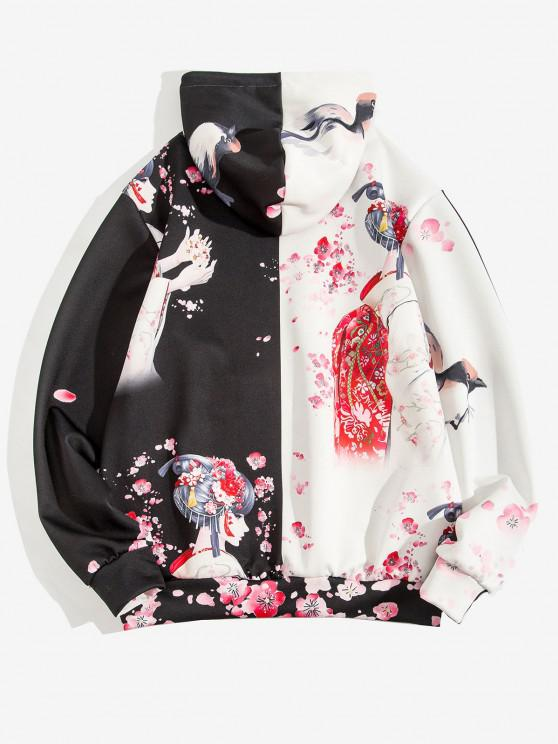 Japanese Style Floral Geisha Bird Print Two Tone Hoodie - أسود XL