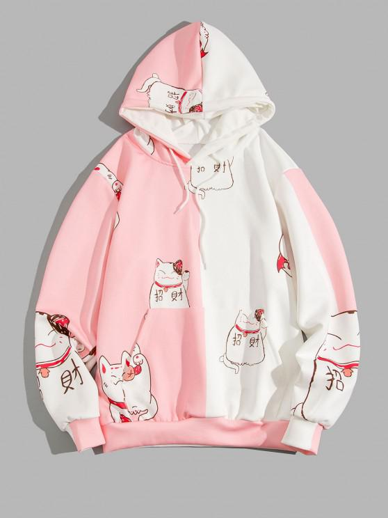 Fortune Cat Print Two Tone Hoodie - خنزير وردي 3XL