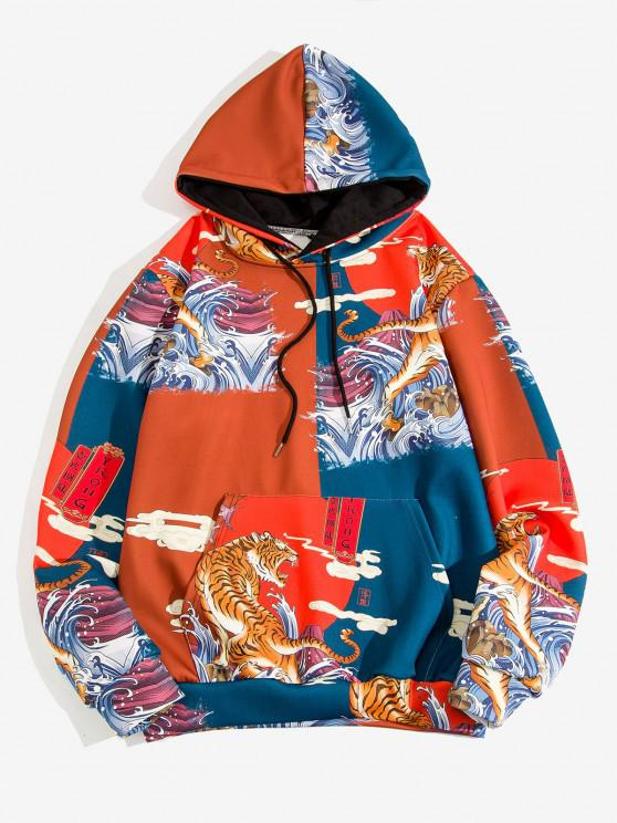 womens Sea Waves Tiger Graphic Print Oriental Hoodie - RED M