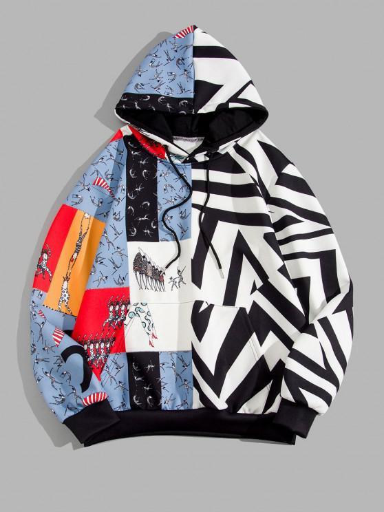 Sporting Figure Chevron Print Colorblock Hoodie - أسود M