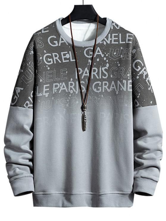 shop Drop Shoulder Ombre Letter Print Sweatshirt - GRAY XL