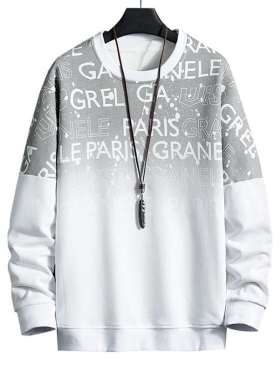 Drop Shoulder Ombre Letter Print Sweatshirt - أبيض 3XL