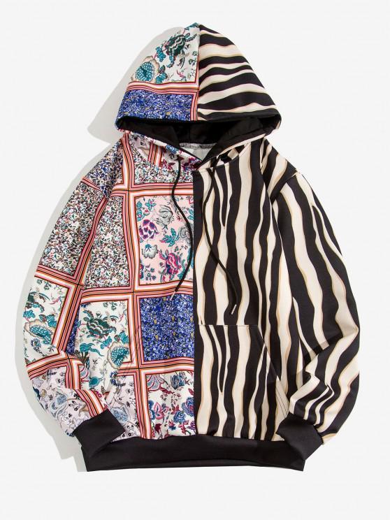 online Bandana Striped Print Front Pocket Hoodie - BLACK XL