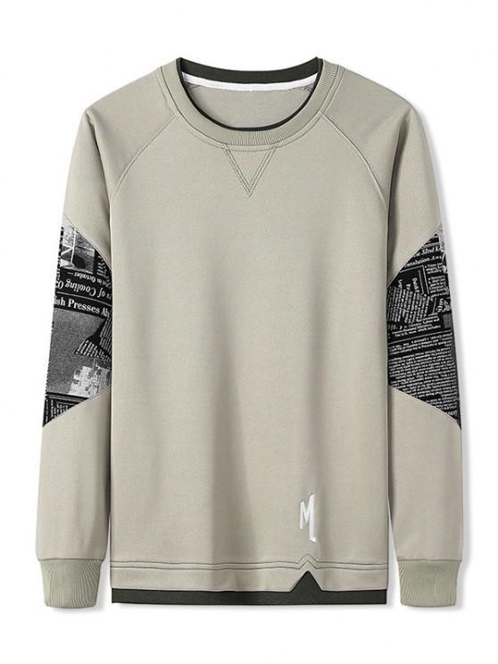Letter Graphic Patchwork Panel Raglan Sleeve Sweatshirt - ضوء الكاكي S